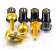 Kit Parafusos de bolha M5 com Buchas (4 Unid) Dourado