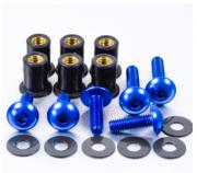 Kit Parafusos de bolha M5 com Buchas (6 Unid) Azul