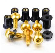 Kit Parafusos de bolha M5 com Buchas (6 Unid) Dourado