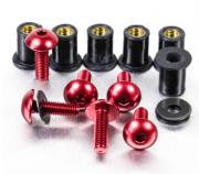Kit Parafusos de bolha M5 com Buchas (6 Unid) Vermelho