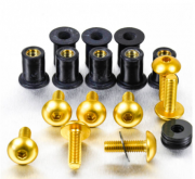 Kit Parafusos de bolha M5 com Buchas (8 Unid) Dourado