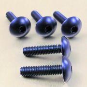 Parafuso Allen de Aluminio Dome Head M6 x 20mm Azul