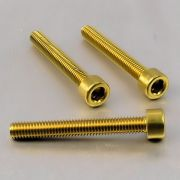 Parafuso Allen de Aluminio Socket Cap M6 x 45mm Dourado