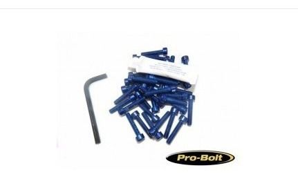 Kit Universal de Parafusos da Tampa do Motor Alumínio Pro-Bolt 30 Pçs Azul