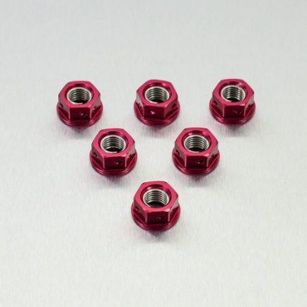 Conjunto de Porcas da Coroa 10mm Perfurada 6 Unid Vermelho
