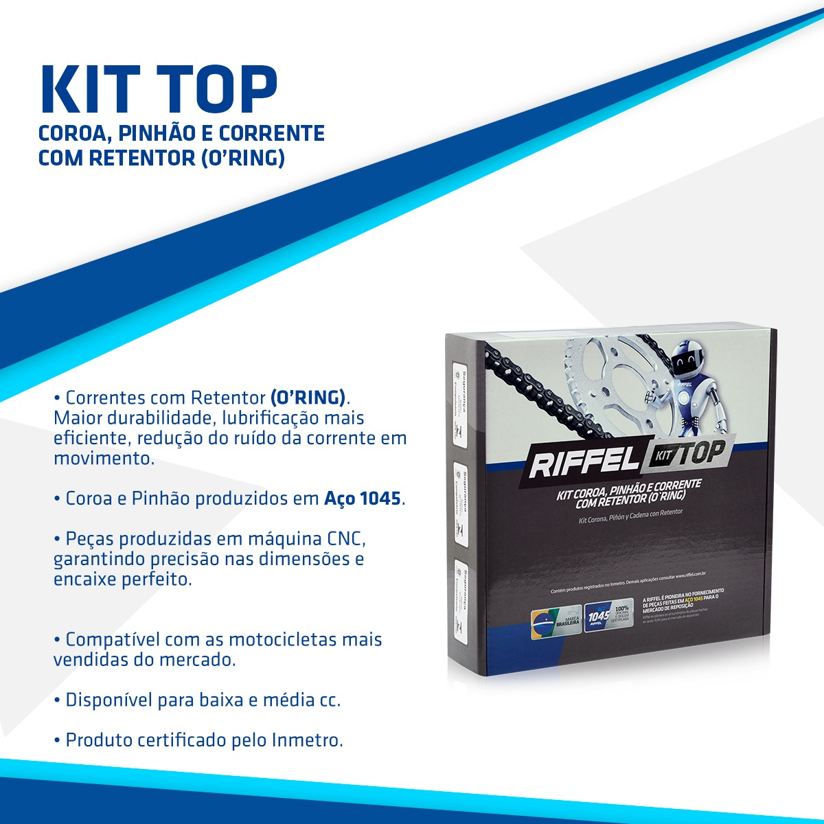 KIT Relação Transmissão CG 125 TITAN ES/KS C/ ANEL 44Z X 14Z (71790) C/ CORRENTE O'RING 428HO X 116L - TOP (1045)