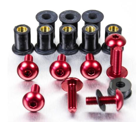 Kit Parafusos de bolha M5 com Buchas (8 Unid) Vermelho