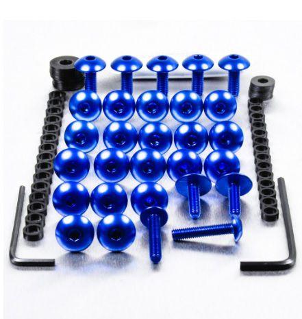 Kit Universal de Parafusos da Carenagem Alumínio Pro-Bolt 30pçs Azul