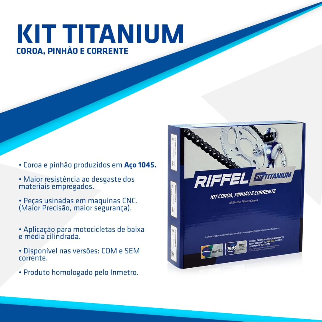 KIT XTZ 125 48Z X 14Z C/ CORRENTE 428H X 122L - TITANIUM (1045)