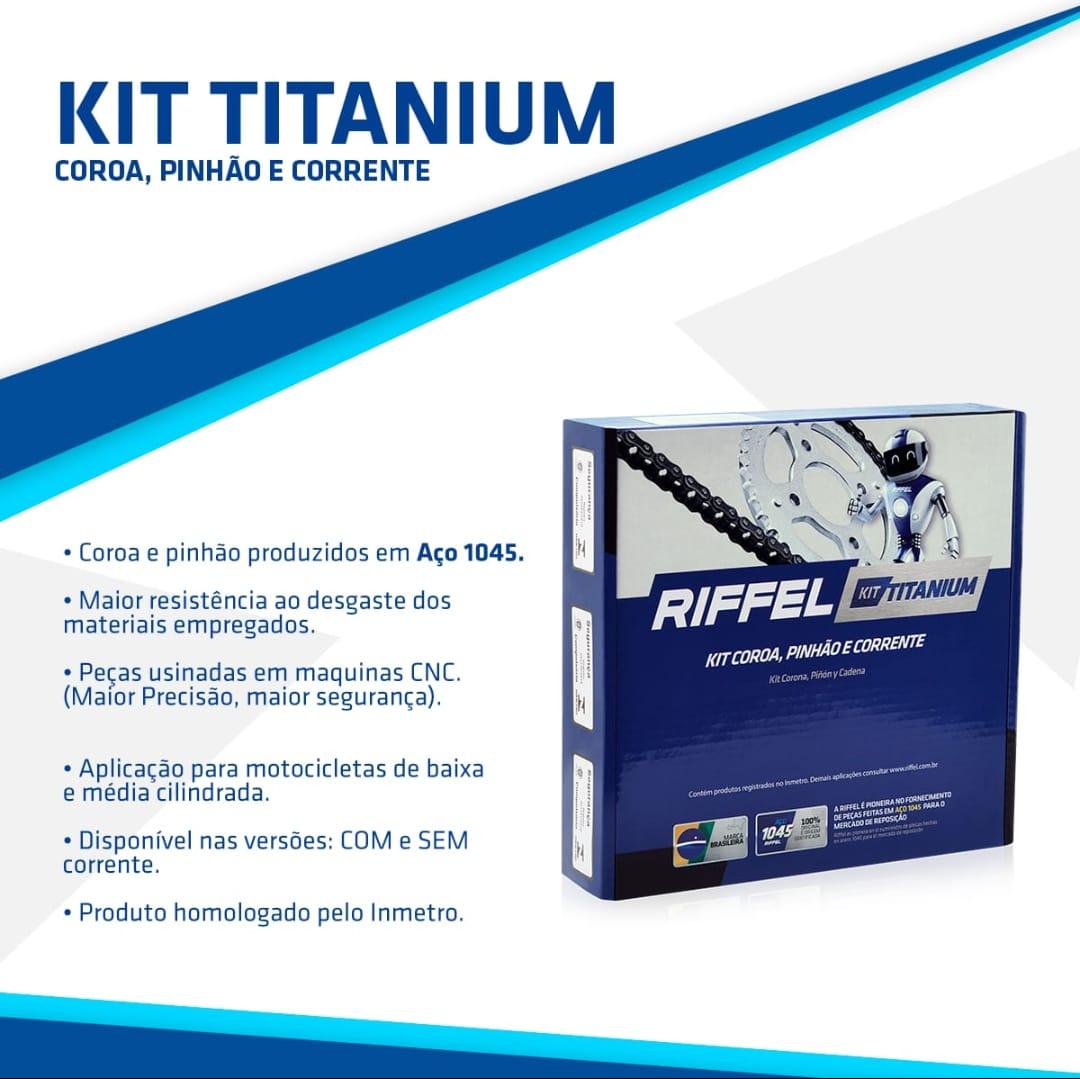 KIT Relação Transmissão YBR 125 (03-08) / YBR 125 FACTOR (03-16) 45Z X 14Z - C/ CORRENTE 428H X 118L - TITANIUM (1045)