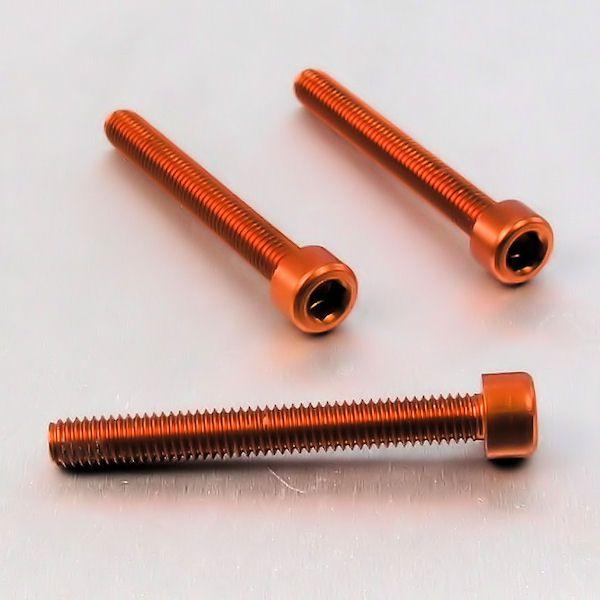 Parafuso Allen de Aluminio Socket Cap M6 x 50mm Laranja