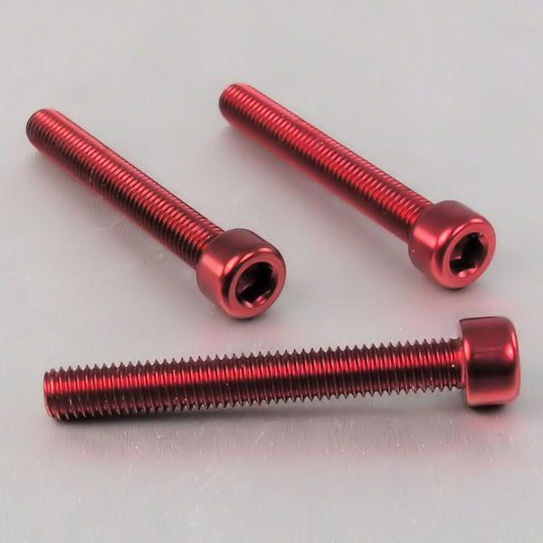 Parafuso Allen de Aluminio Socket Cap M8 x 60mm Vermelho