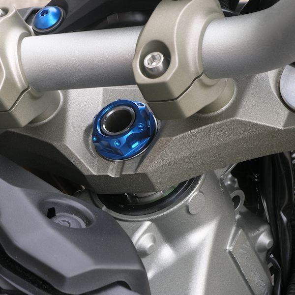 Porca central da mesa 28mm x 1.00mm Vazada Yamaha / Suzuki / Kawasaki Azul