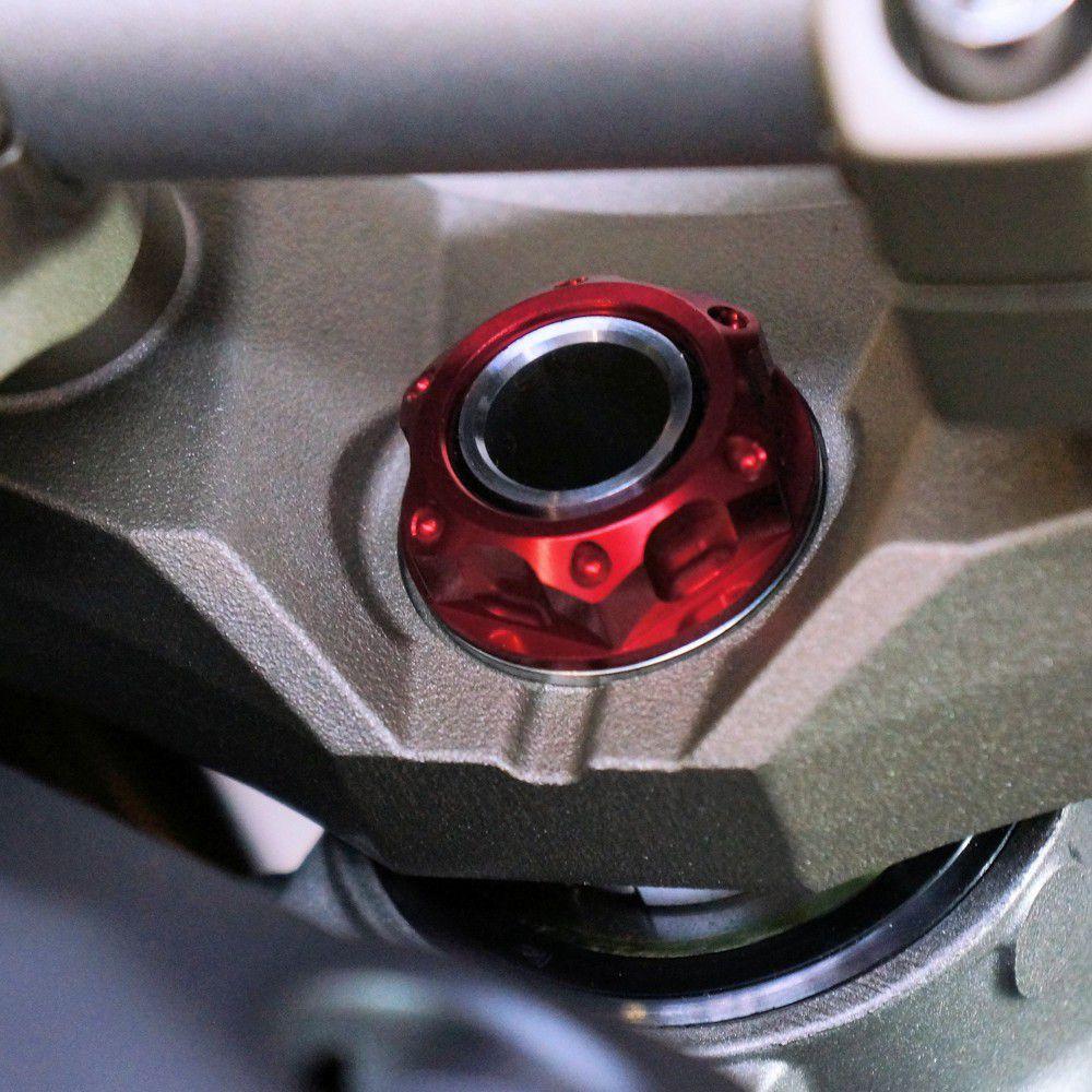 Porca central da mesa 28mm x 1.00mm Vazada Yamaha / Suzuki / Kawasaki Vermelho