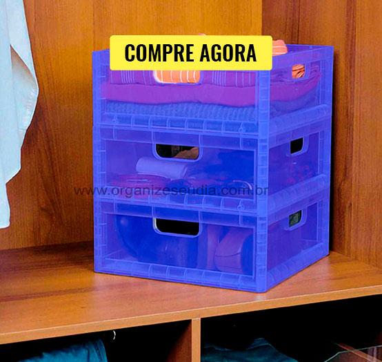 Caixa Organizadora Empilhável Azul Ordene