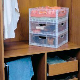 Caixa Organizadora Empilhável Baixa Transparente