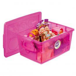 Caixa Organizadora Média Pink com Trava 7,5 L
