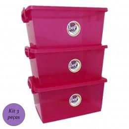 Caixa Organizadora Plástica com Tampa Pink 7,5 lt com 3 un
