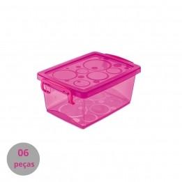 Caixa Organizadora Pink Pequena 650 ml - com 6 peças