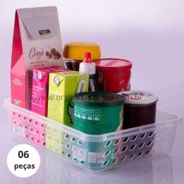 Cesto Organizador Plástico Grande Kit 6 pçs
