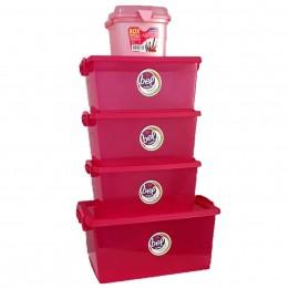 Combo 4 Caixas Organizadoras Pink + Maleta Pequena