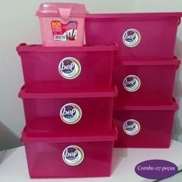 Combo 6 Caixas Organizadoras Pink + Maleta Pequena