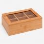 Caixa para Chá em Bambu com Tampa Transparente