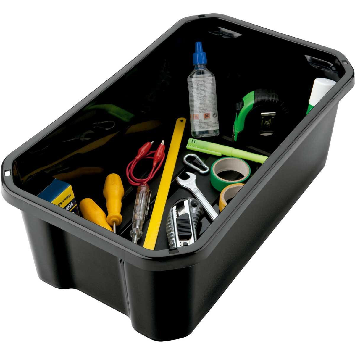 Caixa Organizadora Plástica Retangular Preta