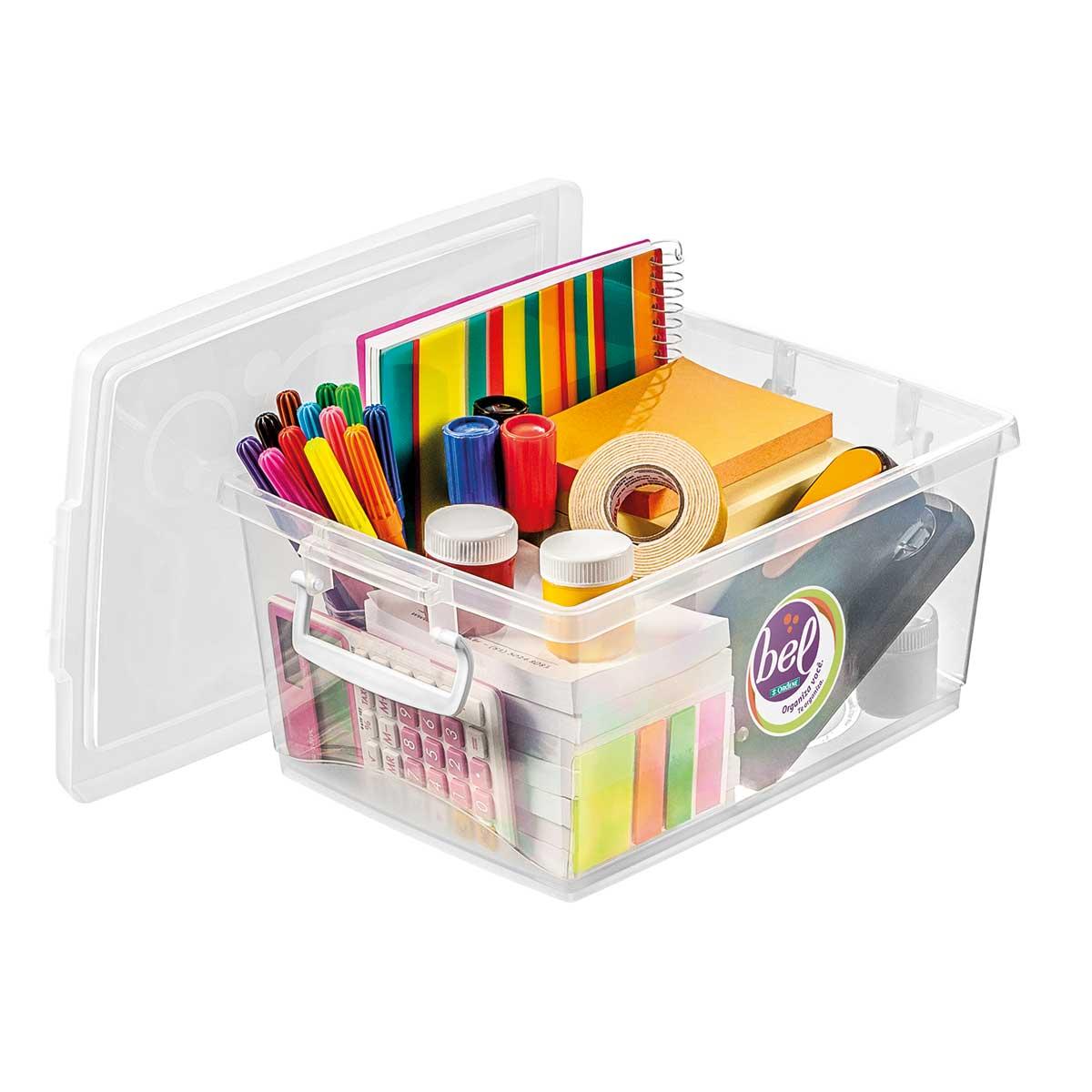 Caixa Organizadora Média com Trava 4 L  - Kit 3 peças