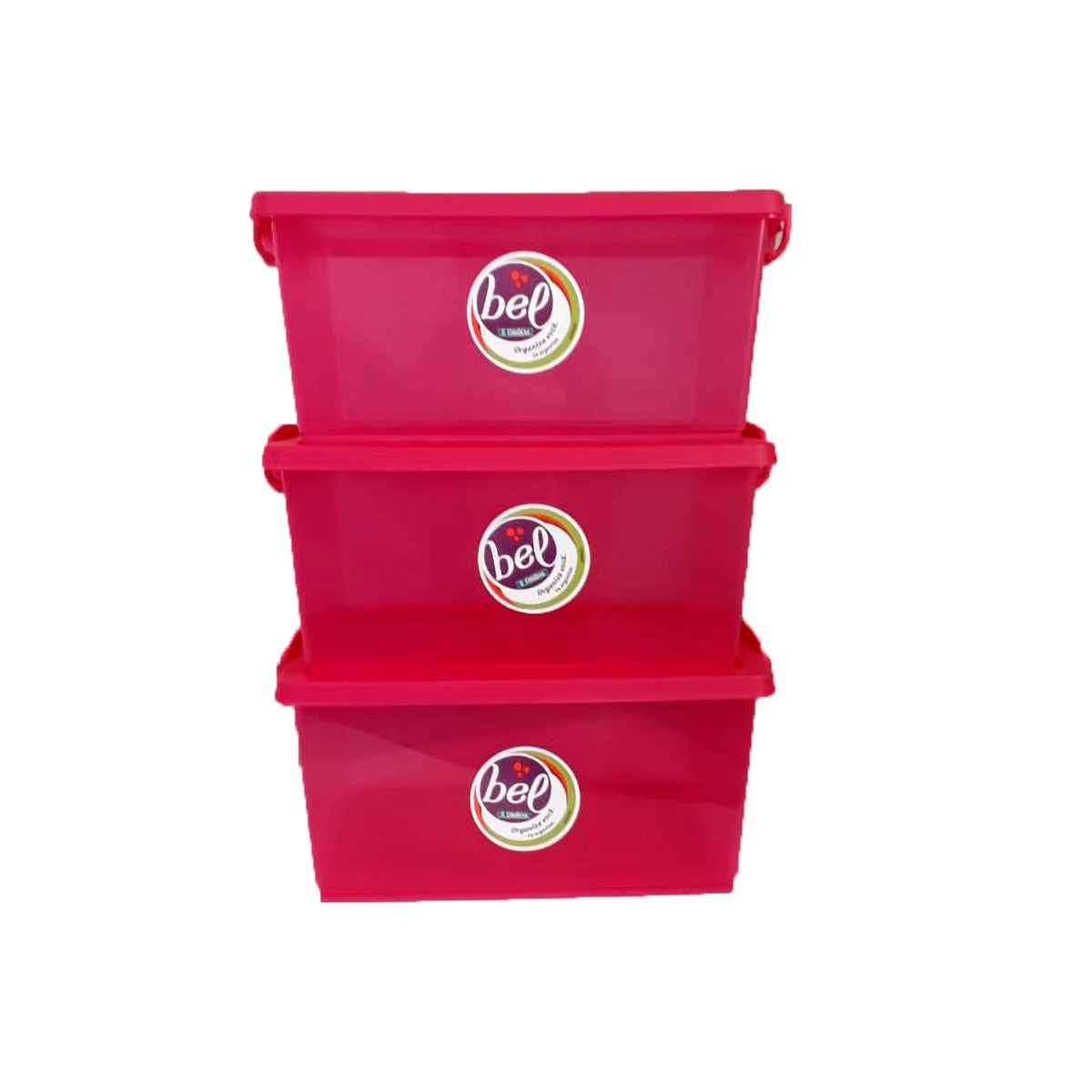 Caixa Organizadora Pink Média com Trava 4 L - Kit 3 peças