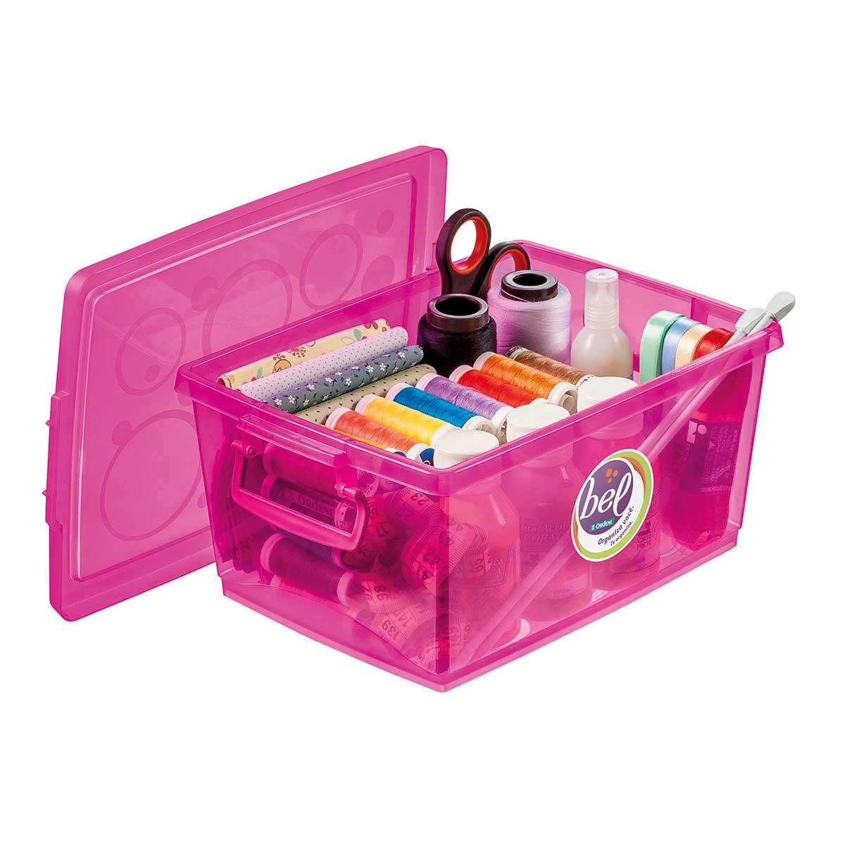 Caixa Organizadora Plástica com Tampa Pink 4 lt com 3 un