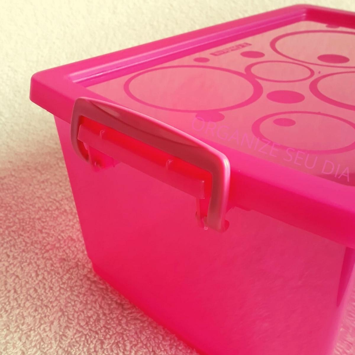 Caixa Organizadora Plástica com Tampa Pink 650 ml com 6 un