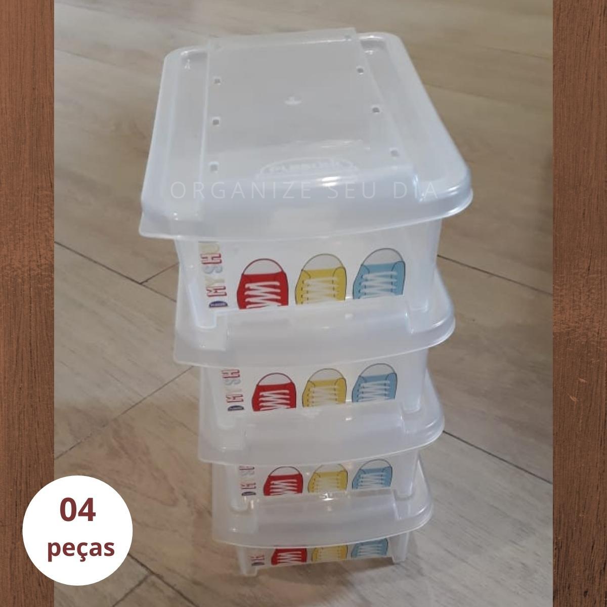 Caixa Organizadora de Sapatos Infantil Kit 4 pç