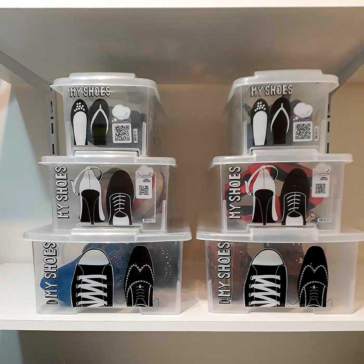 Caixa para Sapatos Empilhável Média com QR Code