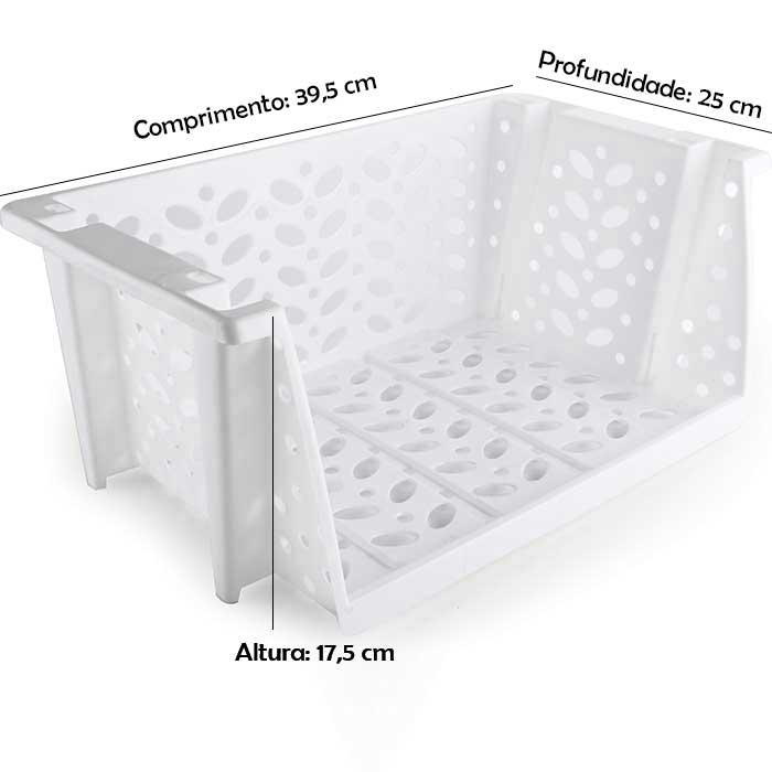 Cesto Empilhável Médio com Abertura - Kit com 3 peças