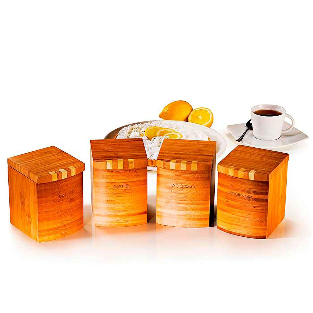 Conjunto de Potes para Mantimentos em Bambu 4 peças