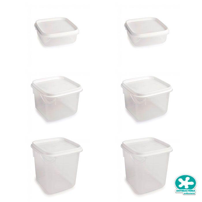 Conjunto de Potes Quadrado Antibactéria 6 peças
