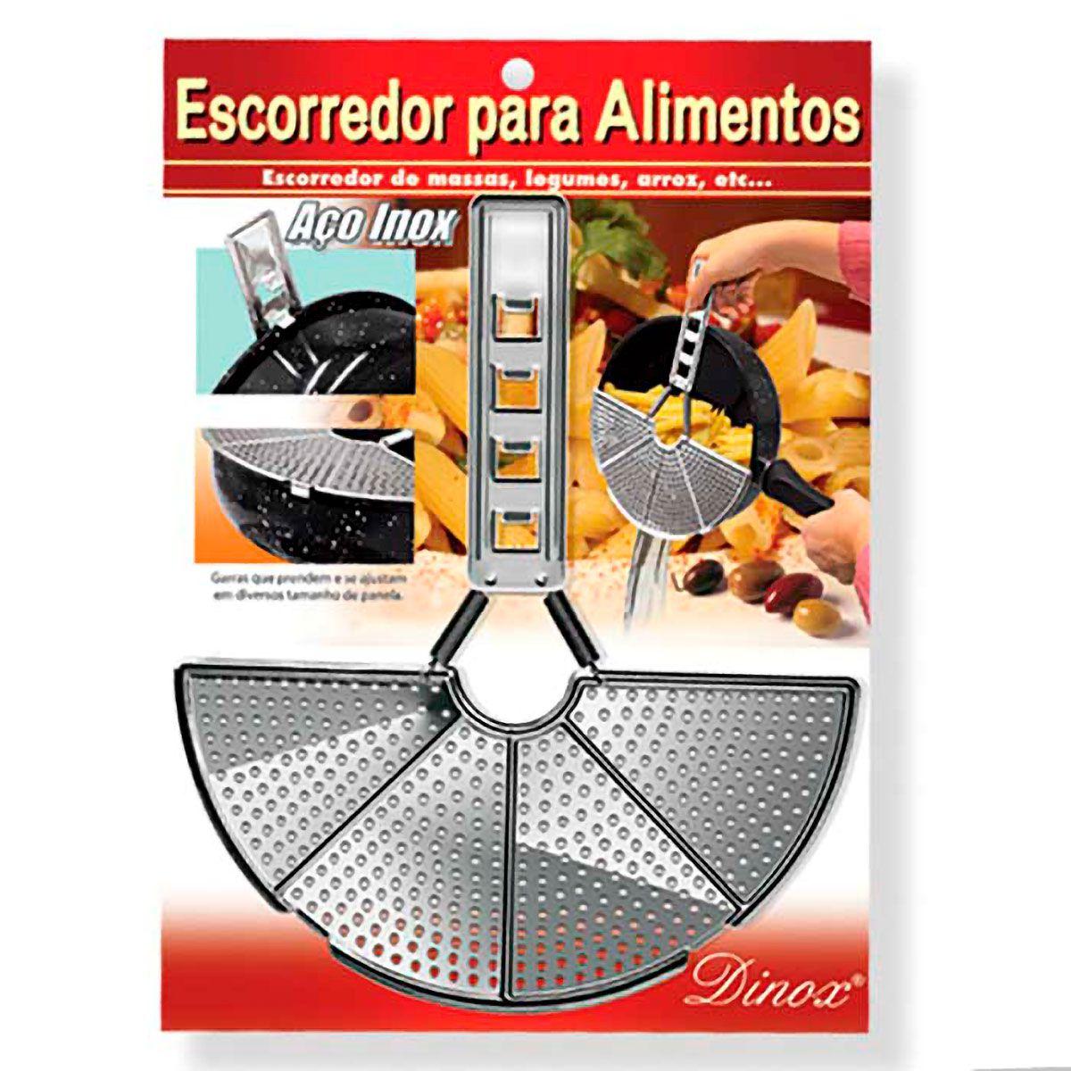 Escorredor de Alimentos Ajustável em Aço Inox