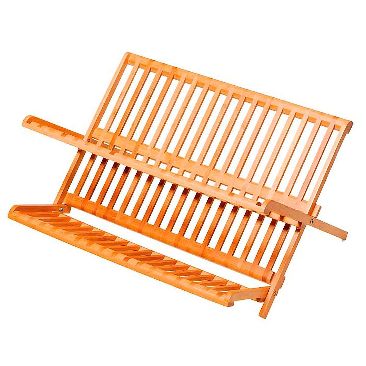 Escorredor de Pratos Retrátil em Bambu