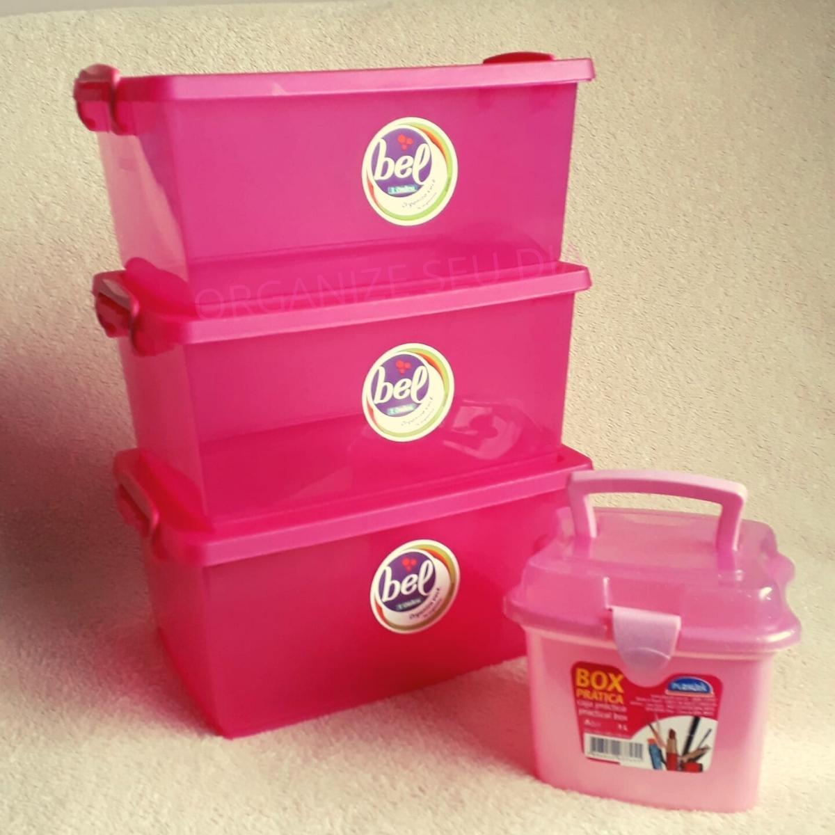 Kit 3 Caixas Organizadoras Pink + Maleta Rosa