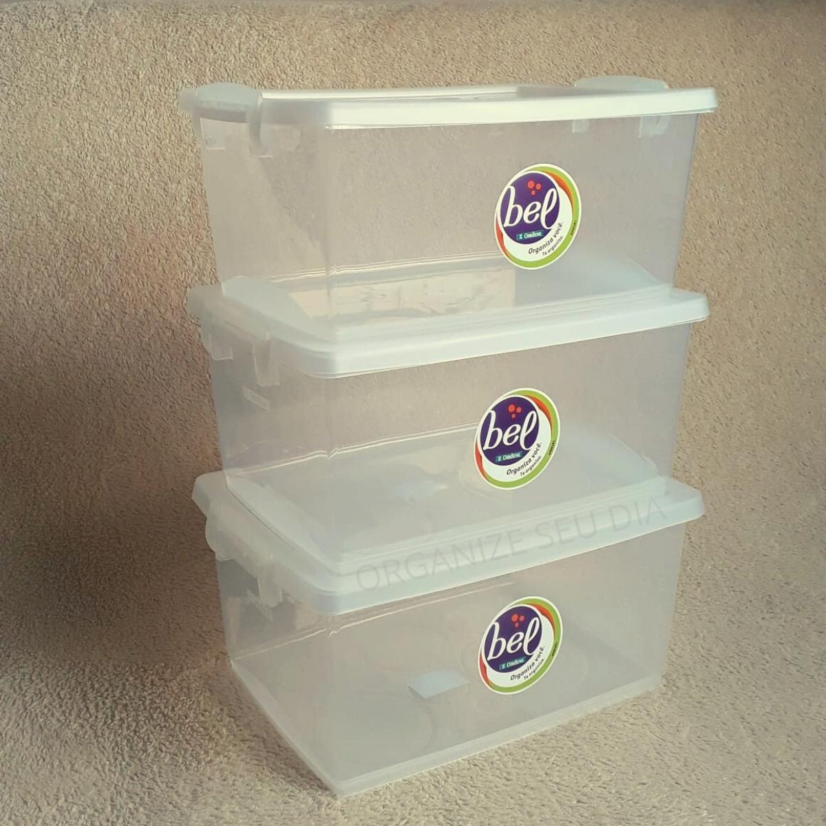 Kit 3 Caixas Organizadoras Transparente + Maleta Plástica