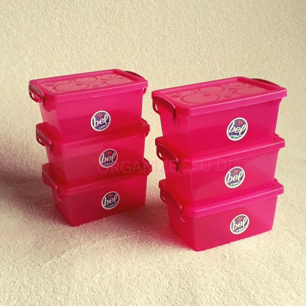 Kit Caixa Organizadora Pink com Tampa 9 peças
