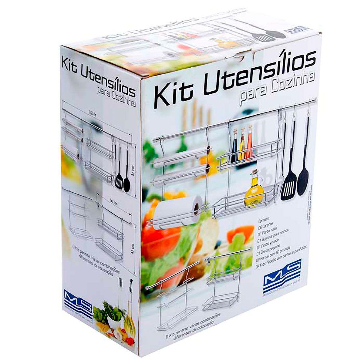 Kit Utensílios de Cozinha Cromado com Barras