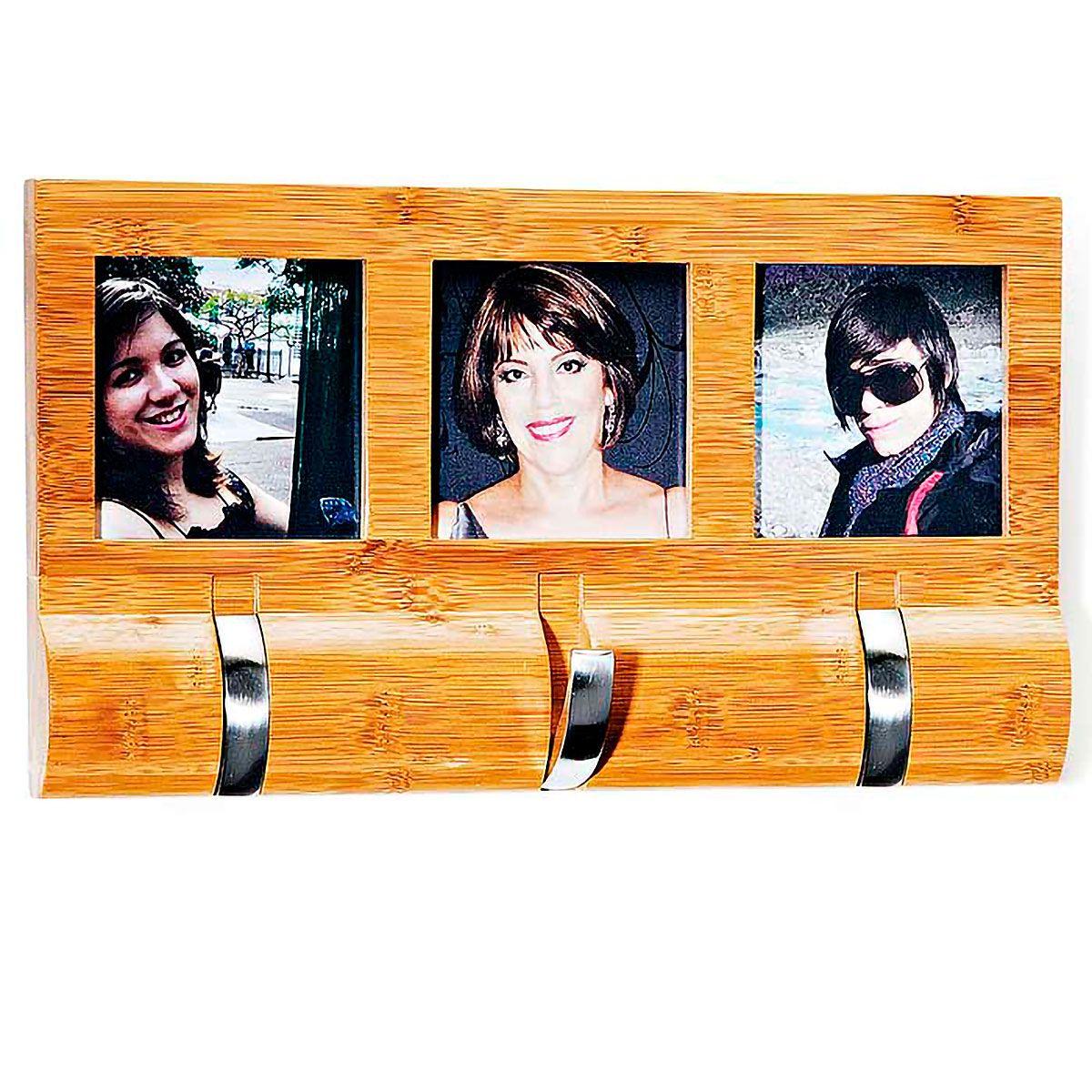 Porta Retratos em Bambu com Cabideiro Triplo