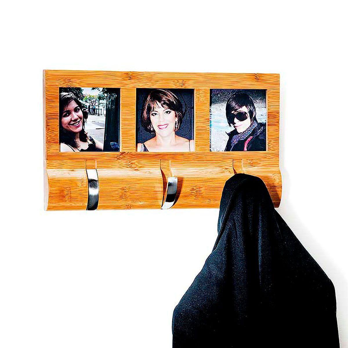 Porta Retratos em Bambu com Gancho Retrátil