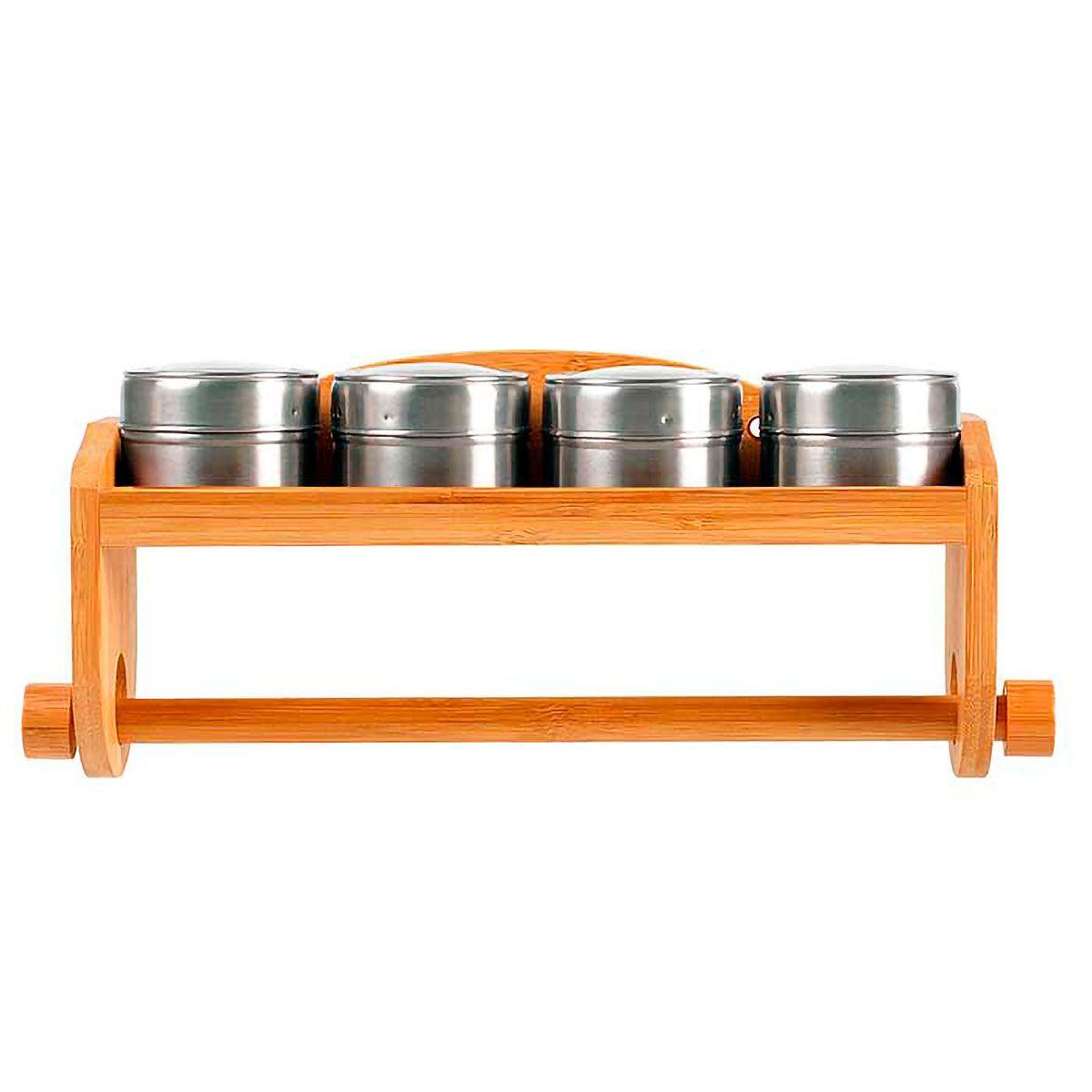 Porta Temperos com Porta Papel Toalha em Bambu 05 peças