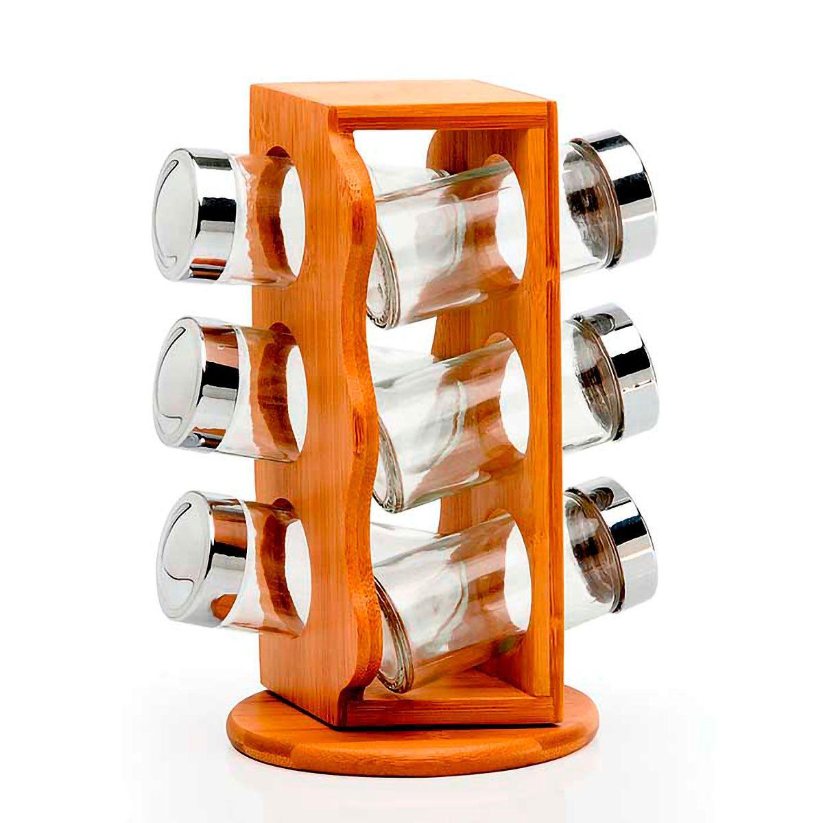 Porta Temperos Giratório em Bambu 07 peças