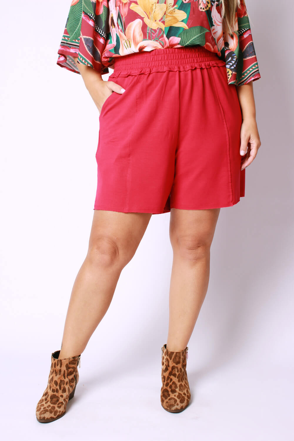 BEM ESTAR -PLUS SIZE SHORTS MOLETOM PINK
