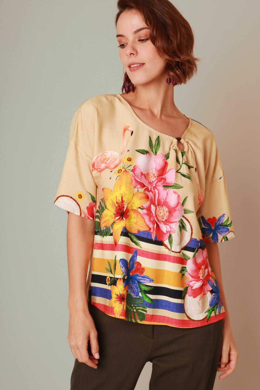 BLUSA ESTAMPADA FLAMINGO OFF WHITE