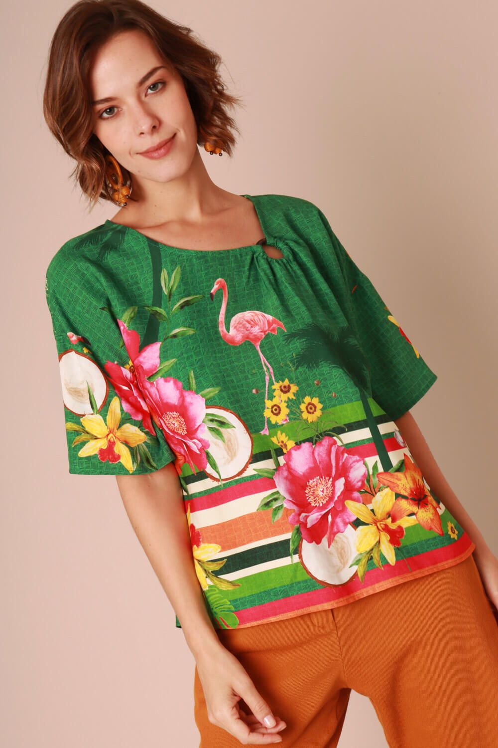 BLUSA ESTAMPADA FLAMINGO VERDE